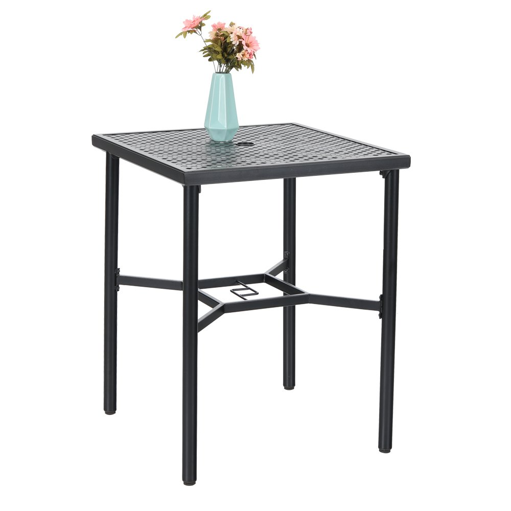 PHI VILLA 28in Patio Height Bistro Square Table with Umbrella Hole - 36'' Height