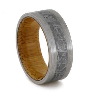 Gibeon Meteorite Brushed Titanium 8mm Comfort Fit Bamboo Wedding