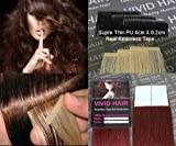 Cheap 20pcs 22″ Inches Remy Seamless Super Thin Tape Skin Weft PU Straight Human Hair Extensions Dark Red