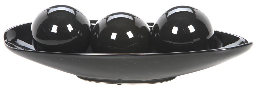 Hosley's schwarz Decorative Bowl and Orb Set. Ideal GIFT for Weddings, Special Occasions, and for Decorative Centerpiece in Your Living   Dining Room O3