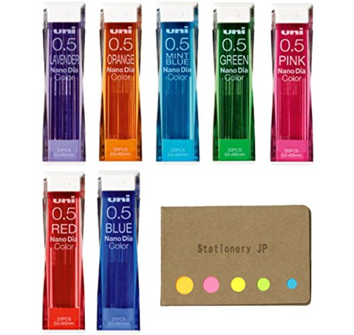 Uni NanoDia Color Mechanical Pencil Leads, 0.5mm, 7 Colors, Total 140 Leads, Sticky Notes Value Set by Stationery JP (Image #7)
