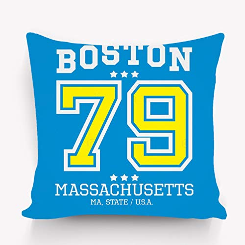 (WiNjTyMOYO Throw Pillow Cushion Cover Boston Sport Team Typography Decorative Square Accent Pillow Case 18 X 18)