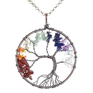 JOVIVI Tree of life pendant Quartz Crystal Necklace Gemstone Chakra Jewelry Mothers Day Gifts