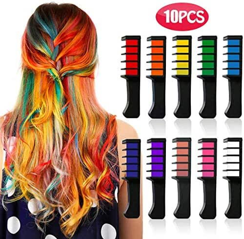 Kyerivs Hair Chalk Comb Temporary Hair Color Dye for Kid Girls Party and Cosplay DIY Festival Dress up Birthday Girls Gift Presents Works on All Hair Colors Washable Black Handle Mini 10PCS