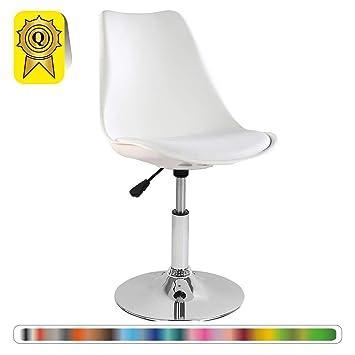 Decopresto 1 X Chaise Inspiration Tulipe Pivotante Reglable Pieds INOX Chrome Siege Coussin Blanc DP