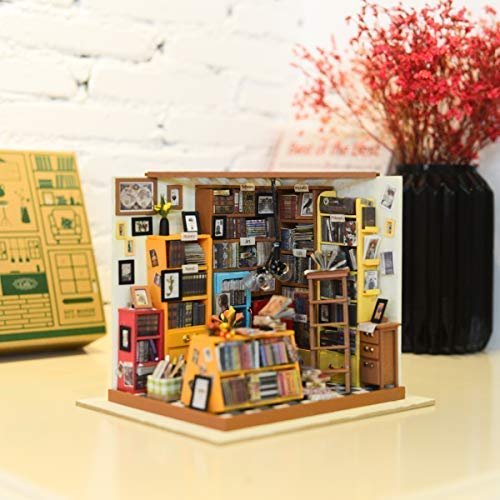 Miniature Dollhouse Furniture Kit DIY Wooden House with Led Lights Sams Bookstore 3D Mini Dollhouse Accessories Birthday Christmas Gifts for Adults Teens Friends