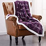 Rose Home Fashion RHF Super Soft Fleece Sherpa Comfort Caring Gift Throw Blanket, Fuzzy Blanket - Get Well Soon Gift for Women&Men - Plush Throw Blanket(Throw), Violet