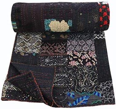 Colcha Kantha hecha a mano de algodón con bordado bohemio, tamaño king, colcha Kantha mano Stich Vintage acolchada manta Kantha india patchwork edredón: Amazon.es: Hogar