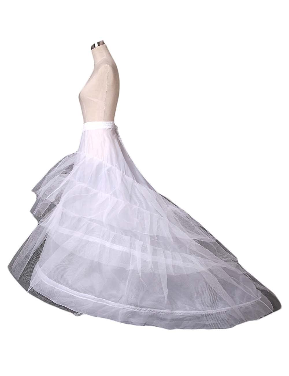 AliceHouse Women's 2-Hoop 3-Layer A-Line Wedding Petticoat Train Underskirt 9021
