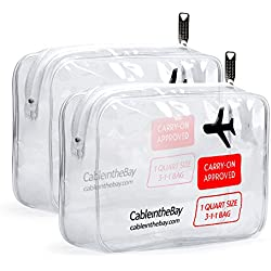TSA Approved Clear Travel Toiletry Bag(2PACK) Quart Sized with Zipper Airport Airline Compliant Bag Carry-On Luggage Travel Backpack for Liquids/ Bottles Men's/Women's 3-1-1 Kit+Travel EBOOK (2(PACK))