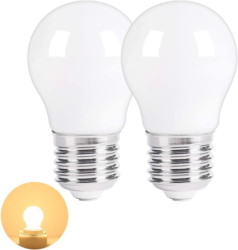 LED Appliance Light Bulb for Refrigerator Fridge Freeze Over Microwave Hood Stove Replacement A15 40W Bulb E26 Medium Base 120V 5W 500lm Soft White Non dimmable Warm White 3000K Pack of 2