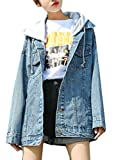Joe Wenko Women's Hip-Hop Unisex Coat Loose Jean Boyfriend Hoodie Denim Jacket Blue XL