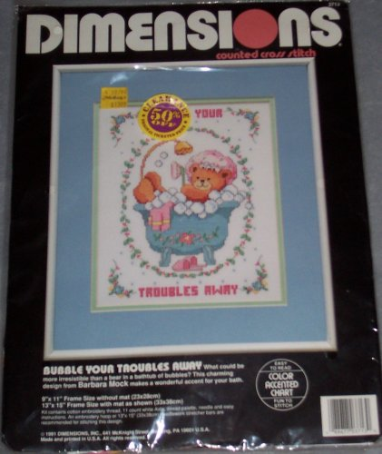 Bubbles Counted Cross Stitch - Dimensions Counted Cross Stitch Kit: Bubble Your Troubles Away (9