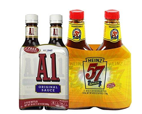 Steak Lovers Bundle: 2-pack of Heinz 57 Steak Sauce 20 Ounce and 2-pack of A1 Original Steak Sauce 15 (Heinz 57 Steak)