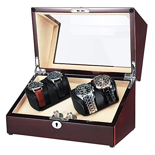 OLYMBROS Wooden Quad Automatic Watch Winder Storage Boxes for 4 Watches with LED Light from Olymbros