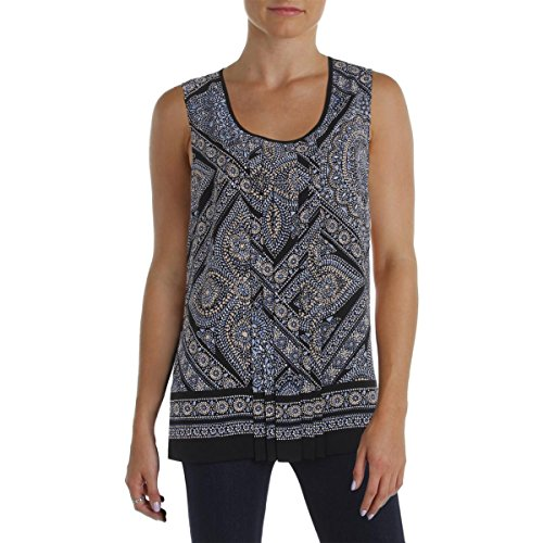 (Tommy Hilfiger Womens Matte Jersey Printed Pullover Top Navy S)