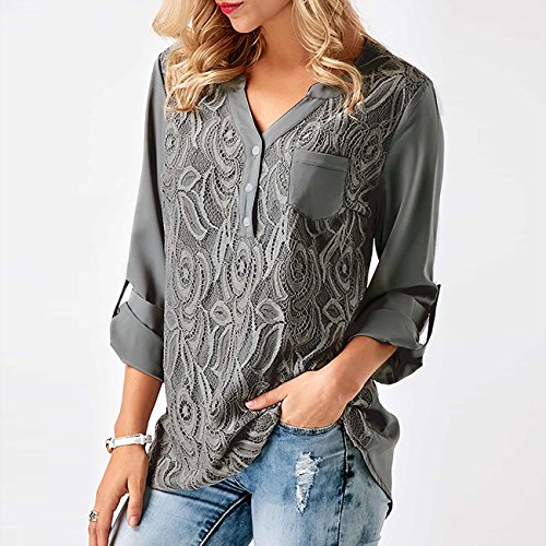 Tee Tunique Shirts Blouse Chic Manches Chemise Gris Casual Femme Longues Yieune Chemise Shirt Casual 7Epww8