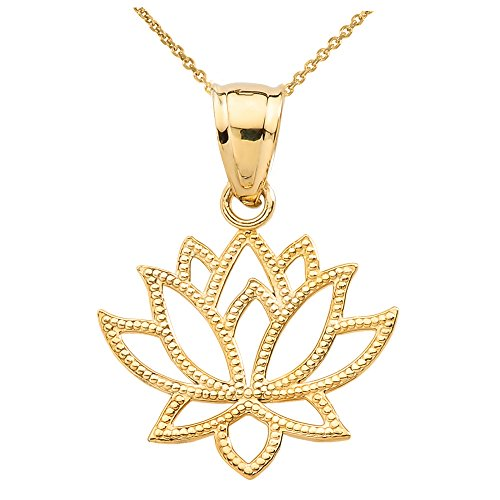 Lotus Design Flower Pendant (High Polish 14k Yellow Gold Open Design Lotus Flower Pendant Necklace, 16