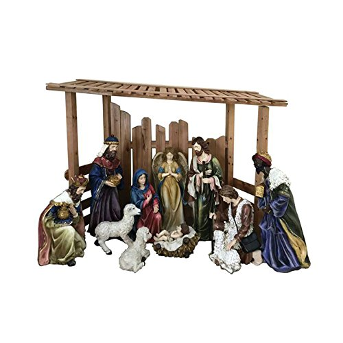 12 Piece Outdoor Nativity Set, Multicolored