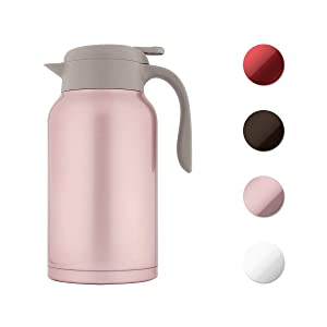 SDREAM 68 Oz Coffee Carafe Thermal Stainless Steel Double Walled Thermal Pots Hot Cold Beverage (Pink)