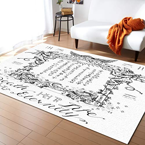 Large Area Rugs 4' x 6' Throw Carpet Floor Cover Nursery Rugs For Children/Kids, Gothic Medieval Magic and Spell Symbols Eternal Life Ritual Chart,Modern Kitchen Mat Runner Rugs For Bedroom