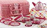 tin tea sets with basket - Tin Tea Set, Unbreakable Dishes, Real Pouring Teapot, Pink Wicker Basket