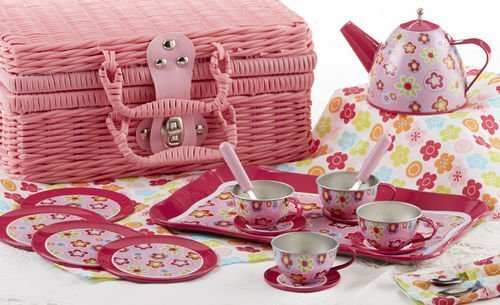 Tin Tea Set, Unbreakable Dishes, Real Pouring Teapot, Pink Wicker (Wicker Tea)