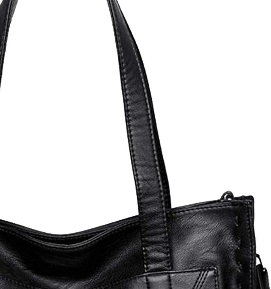 Fenical borsa da donna borsa a mano borsa a mano in pelle pu borsa per donna donna (rosso scuro) Nero