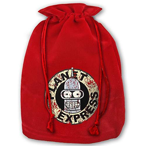 Hweoweek Bags Santa Sack with Drawstring, Futurama Bender Planet Express Reusable Fabric Present Wrapping Bag