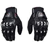 oubaiya Steel Outdoor Reinforced Brass Knuckle Motorcycle Motorbike Powersports Racing Textile Safety Gloves (Touch Screen, Medium)