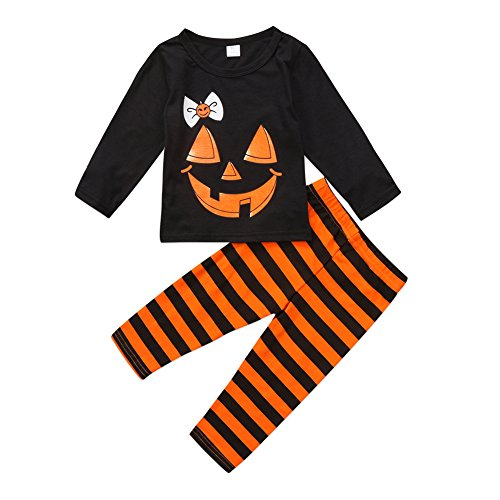 Kids Toddler Baby Girl Boy Pumpkin Face T-shirt Tops+Striped Pants Outfit Pajamas Set Halloween Clothes (2-3 Years, Black)
