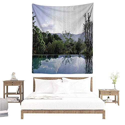 alisoso Wall Tapestries Hippie,House Decor Collection,Cloud and Tree Reflections on The Infinity Pool Forest Distant Hills Getaway Image Pattern,G W40 x L60 inch Tapestry Wallpaper Home Decor ()