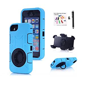 Aokland Ultra protective shock-proof 360 degree Rotating Ring Kickstand and Back Clip case with RuggedFace-in and out Holster for Apple iPhone 5/5S (light blue)