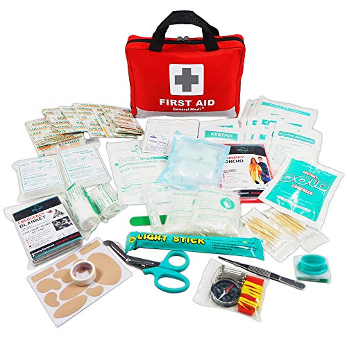 First Aid Kit -309 Pieces- Reflective Bag Design - Including Eyewash, Bandages,Moleskin Pad,CPR Face...