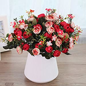 Situmi Artificial Fake Flowers Potted Plants Camellia Red Decor Home Accessories 36