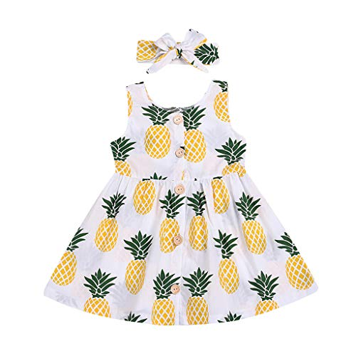 WOCACHI Toddler Kid Baby Girls Sleeveless Fruits Printed Party Princess Dress Clothes 2pcs 3pcs Footies Onesies Playsuits Tutu Princess Granddaughter Rash Guards Short Tee Sets -