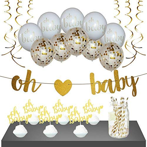 Baby Shower Decorations  Gender Neutral for Girl or Boy | Gold Oh Baby Shower Banner 10 Gold/White Balloons 6 Cupcake Toppers 12 Straws amp 6 Gold Streamers | 35 Piece set | Gender Reveal
