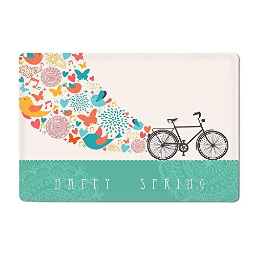 Bicycle Bath mat Happy Spring Themed Bike Concept with Blossomed Bird and Butterflies Fresh Print Outdoor mat Teal Grey 20