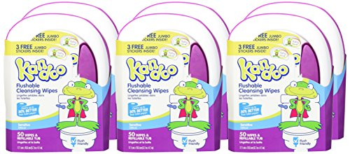 Flushable Wipes for Baby and Kids by Kandoo, Unscented for Sensitive Skin, Hypoallergenic Potty Training Wet Cleansing Cloths, 50 count, Pack of 6
