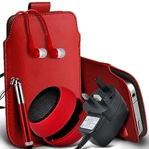 Samsung Galaxy Young S6310 Protective PU Leather Slip cuerda del tirón en la bolsa del lanzamiento rápido con Mini capacitiva lápiz óptico retráctil, 3.5mm en auriculares del oído, Mini recargable altavoz de la cápsula, Micro USB CE aprobado 3 Pin Cargador (rojo)