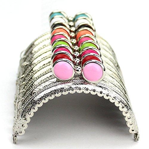 Kissdiy 10PCS Dia. 3.3 inch ceaved Silver Metal Frame Purse Coin Bag Kiss Clasp Lock DIY Craft Assorted Flat ()
