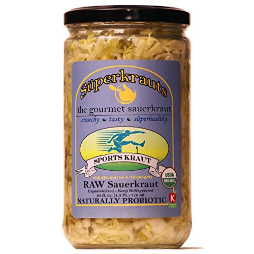 Sports Sauerkraut with electrolytes & adaptogens: organic, raw fermented, unpasteurized, probiotic, kosher, gluten free. 24 fl. oz, 16 flavors available. No shipping charges with minimum.