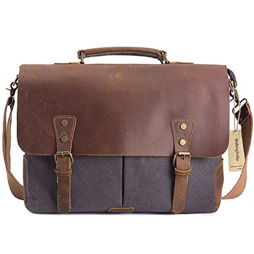 WalkingToSky 15,6 pulgadas cuero Vintage Messenger Bag para hombres y mujeres, lona de nuevo a la escuela Satchel Laptops Bag gris