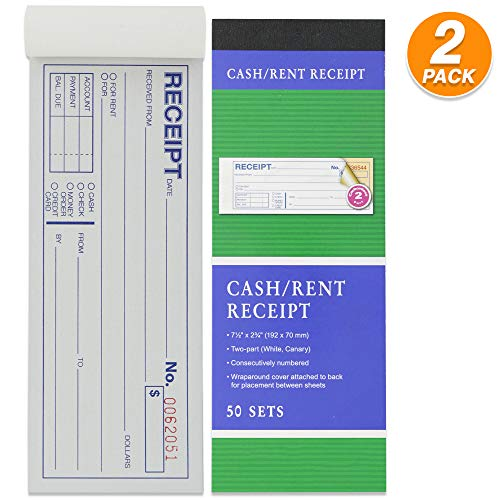 (Emraw 2-Part Carbonless Cash or Rent Receipt Book General Purpose Sales Money Book White and Canary Contractor's Invoice Proposal Form Book Sales Tickets Pack of 2)