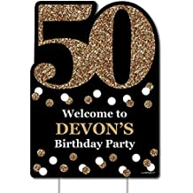 Custom Adult 50th Birthday - Gold - Party Decorations - Birthday Party Personalized Welcome Yard Sign