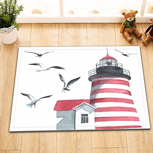 LB Lighthouse Printed Small Bath Rugs for Bathroom,