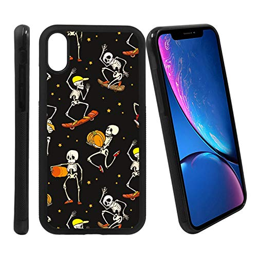 [Dancing and Skateboarding Skeletons Haloween Pattern] Compatible with Apple iPhone XR, Non-Slip Soft Rubber Side & Hard Back Case Cover Shell Skin -