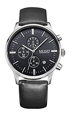 Voeons Men's Casual Wrist Watch Silver Black Chronograph Leather Black