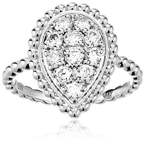 - 14k White Diamond Leaf Ring (3/4cttw, H-I Color, I1 Clarity), Size 7