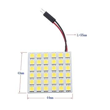 Grandview 4 piezas blanco 5050 36smd 36-SMD LED Panel Dome luz de la lámpara + T10 BA9S Festoon adaptador (Pack de 4): Amazon.es: Coche y moto
